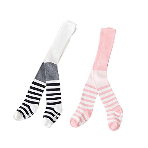 0-3T Baby Girls Striped Legging Pants Infant Toddler Tights Christmas Stocking (Pink And Blue Striped Tights)