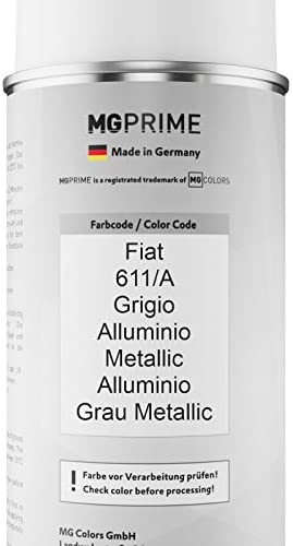 Mg Prime Autolack Sprühdosen Set Für Fiat 611 A Grigio Alluminio Metallic Alluminio Grau Metallic Basislack Klarlack Spraydose 400ml Auto