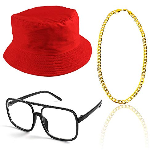 Beelittle 80s/90s Hip Hop Costume Kit Cool Rapper Outfits,Bucket Hat Sunglasses Gold Plated Chain (E) ()