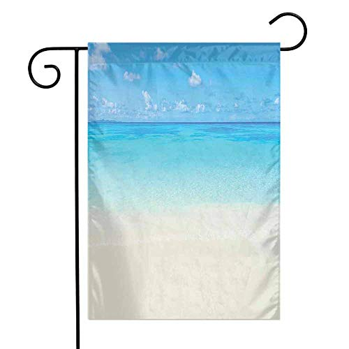 Ocean Garden Flag Paradise Beach in Tropical Caribbean Sea with Fantastic Sky View Calm Beach House Theme Premium Material W12 x L18 Cream Navy]()