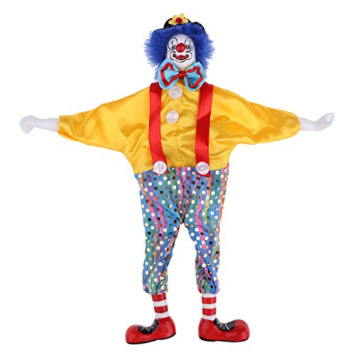 Prettyia 38cm Funny Clown Man Wearing Yellow Clothes Figure Doll Toy Halloween Party Decoration