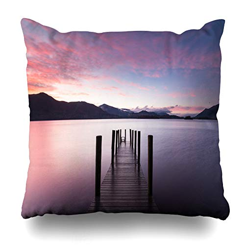 Ahawoso Throw Pillow Cover Square 18x18 Grange Tranquil Ashiness Jetty On Derwentwater UK Lake Nature Parks Ashness Autumn Boardwalk Borrowdale Zippered Cushion Case Home Decor Pillowcase ()