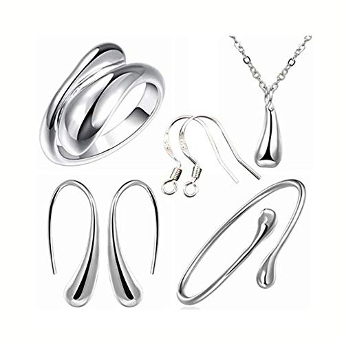 (IEnkidu 925 Sterling Silver Necklace Earring Ring Bangle Set for 4 Pcs (Silver))