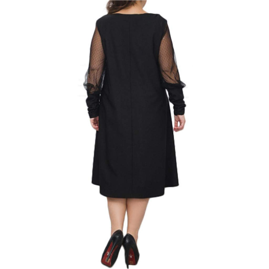 Plus Size Women Long Sleeve Baggy Midi Dress Ladies Party V Neck Lace Tunic Dress Top 2XL-6XL (Black, XXXXXL) by Unknown (Image #6)