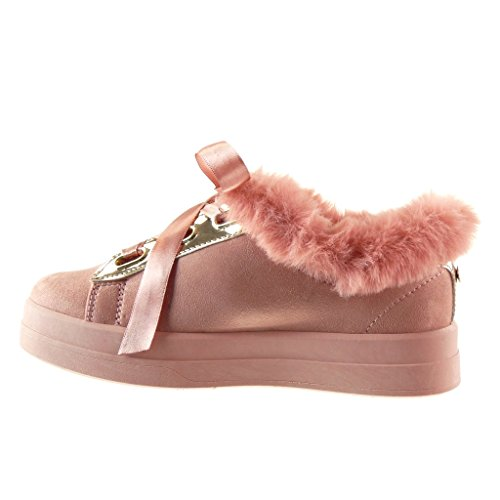 Angkorly - Women's Fashion Shoes Trainers - fur - Satin lace flat heel 3.5 CM Pink DQgRV