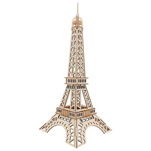 3D Wooden Eiffel Tower Puzzle Laser Cut Architectural Model Collection Toy DIY Puzzle For Kids and Adults 52 Pieces]()