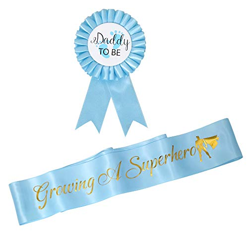 Growing A Superhero Sash Daddy to Be Tinplate Badge Combo Kit Baby Shower Party Gender Reveals Party Gifts Light Blue