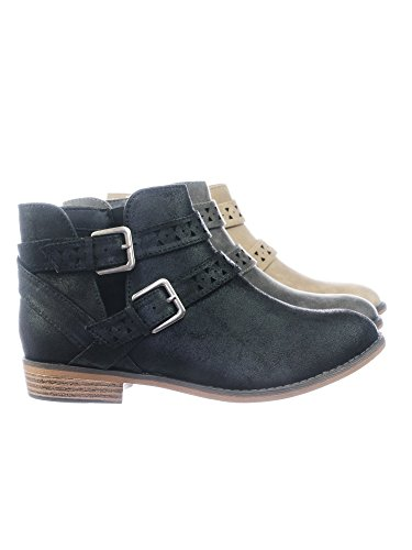 amp; Open Perforated Bootie Western w Detail Side Women Black Belted Ankle Cutout Aquapillar 0axFHnz0