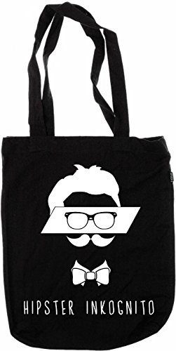 My-tagshirt – Organic Fashion Bag – Hipster ikognito –�?00% Bio – fairtrade – Nero