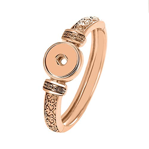LEGENSTAR Snap Buttons Jewelry Bracelet&Bangles Antique Rose Gold Plated Vintage Bracelet fit 18 mm DIY Jewelry ()