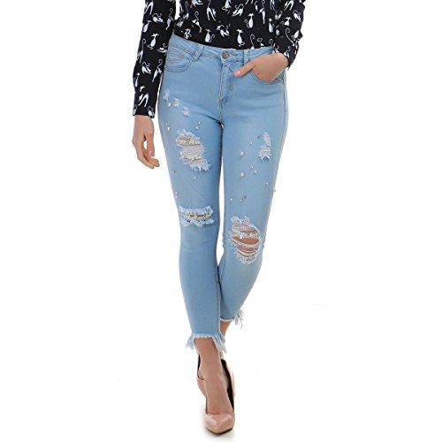 Slim et Destroy 8me Effet dchir 7 Bleu Modeuse Jeans Coupe Clair La 1xwnftg4f
