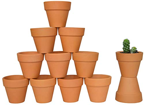 My Urban Crafts 2 Mini Terracotta Clay Pots - Great For Succulent & Cactus Nursery Planter, DIY Craft Projects, Wedding and Party Favors (Set of 12)