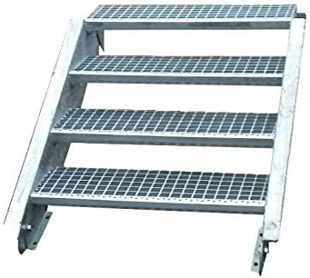 Acero Escalera exterior Escaleras mejilla Escaleras galvanizado 4 niveles GH 55 – 85 cm 4 – 180 de Z: Amazon.es: Bricolaje y herramientas