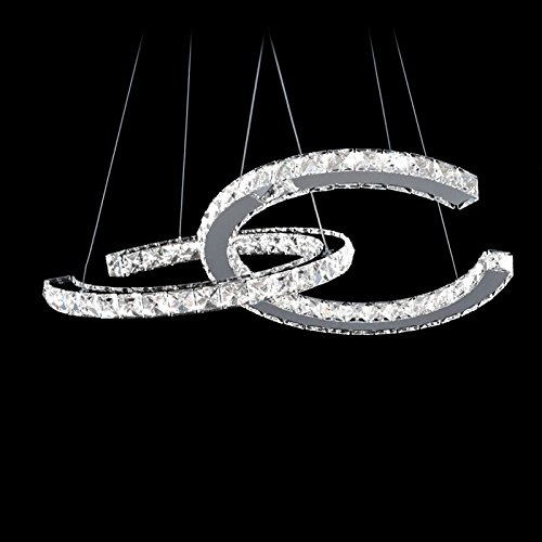 MEEROSEE Modern Crystal Chandelier Lighting Ceiling Light Fixture LED Contemporary 2 C Rings Chandeliers Lights Adjustable Stainless Steel for Living Room Bedroom Dining Room Kitchen Dia 15.74