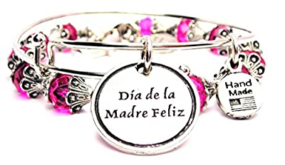 Dia De La Madre Feliz Happy Mother'S Day Collection Crystal Bangle Set in Hot Pink