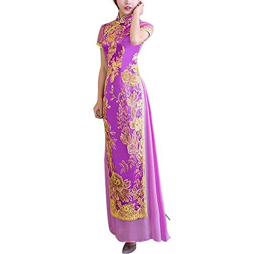 死にかけているフォーラム通行人[福丸] チャイナドレス ロング アオザイ 刺繍 チャイナ服 ワンピース シフォン 結婚式 ドレス レディース