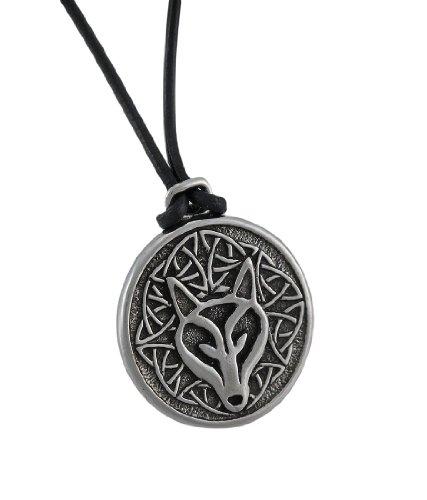 Deva Designs Celtic Wisdom Wolf Head Necklace Pendant Pewter -