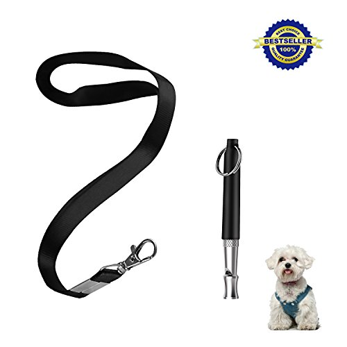 Airsspu Dog Whistle to Stop Barking - Barking Control Ultrasonic Patrol Sound Repellent Repeller - Adjustable Pitch in Black Color with Free Premium Quality Lanyard Strap (Dog (Stop Excessive Barking)