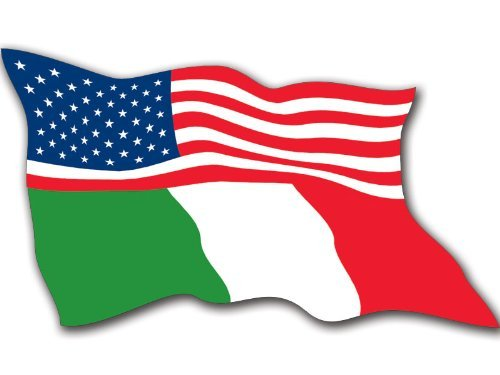 - MAGNET WAVING Half USA Half Italy Flags Magnetic Sticker (Italian American)