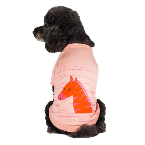 Blueberry Pet Henry the Zebra Cotton Dog Shirt in Light Apricot , Back Length 12