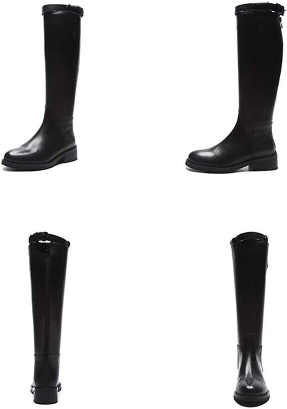 GHX Botas de otoño e Invierno Botas de Cuero de tacón Alto Botas de Mujer Botas Individuales Botas Altas de tacón Grueso Aplusvelvet 1tGXw