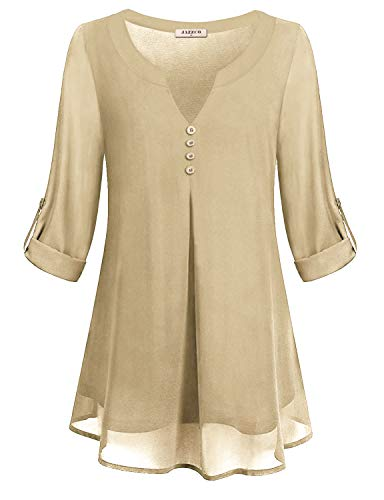 Tops for Women,Juniors Notch V Neck 3/4 Sleeve Pure Color Long Shirts Winter Double Layer Dressy Chiffon Tunic Blouse Tee(Beige,Large) ()