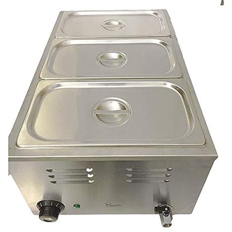 Baño María Comercial, 3 Botes, Calentador Eléctrico para Salsas o Comida, Contenedor de