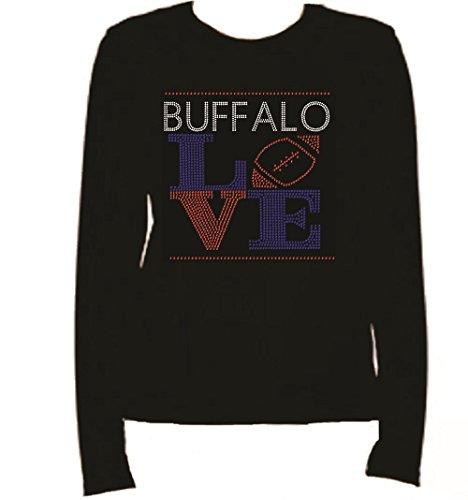 Rhinestone Buffalo Football Love Long Sleeve-Round Neck-Black -W4R3 (XL, BLACK) (Buffalo Round Balls)