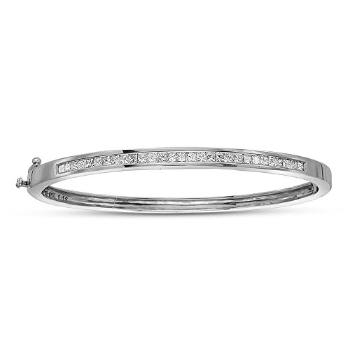 Princess Cut Diamond Bangle Bracelet in 14K White Gold (1 - Gold Diamond Princess Bangle White
