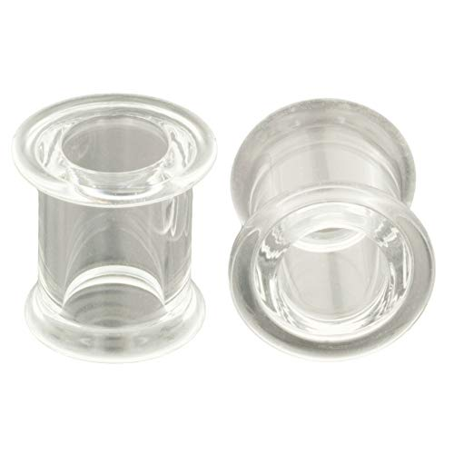 Pair of Clear Pyrex Glass Double Flared Eyelets: 3'' by Steel Navel Body Jewelry (Image #1)