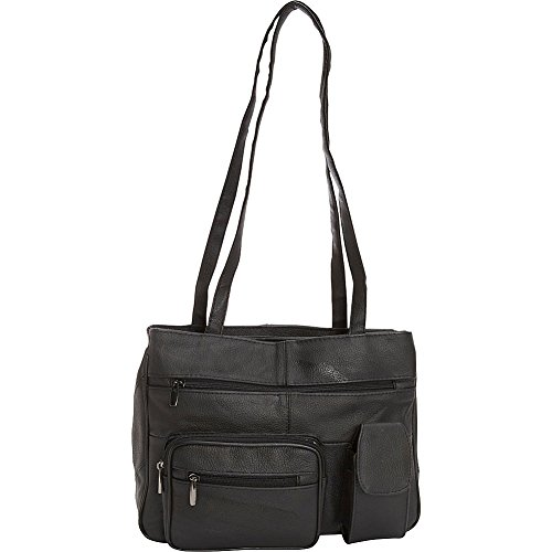 r-r-collections-leather-tote-with-zip-around-pocket-black