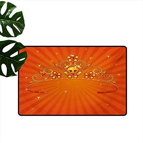 Non-Slip Floor mat,Fancy Halloween Princess Crown with Little Skull Daisies on Radial Orange Backdrop Stars 24
