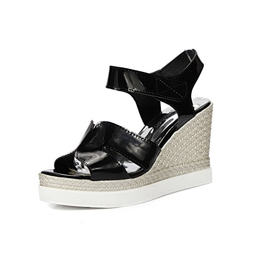 AllhqFashion Womens Open Toe High-Heels Patent Leather Solid Hook-and-Loop Platforms & Wedges Black 1C132LWmF