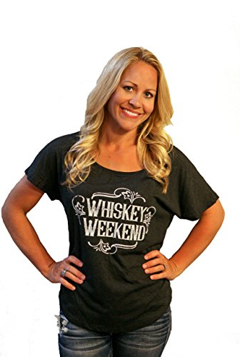 Womens Shirt WHISKEY WEEKEND Short Sleeve Boutique Style Tshirt by Tough Little Lady;Blk Dolman,XL