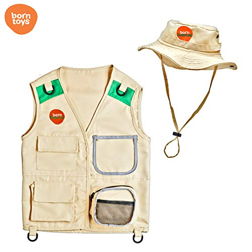 Born Toys Explorer and Safari Costume Vest and Hat Set for Kid Explorer and Outdoor Dress up and Role Play-Great for Park Ranger, Paleontologist, Zoo Keeper Costume, Kids Fishing and Adventure Kids ()