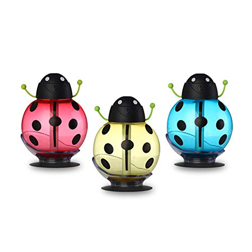 Beetle Night Light Air Purifier Cartoon Desktop USB Portable Silent Ladybug Atomizing LED Table Lamp Mini Cute Aromatherapy Machine Gift for Kids, Baby ,Car, Home, Bedroom, Bedside, Travel (Red) by JUNFEI