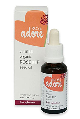 Rose Adore Rose Hip Seed Oil Organic and Wild Harvested in Africa and European Certified Organic - Stretch Mark Remover and Cellulitis Treatment- Scar Fader - Post Pregnancy Stretch Mark Remover