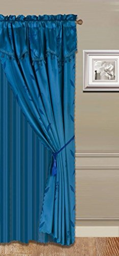 GorgeousHomeLinen (Nada) 4ps Luxury Faux Floral Design Panel Rod Pocket Window Curtain Set, in Solid Colors in 63