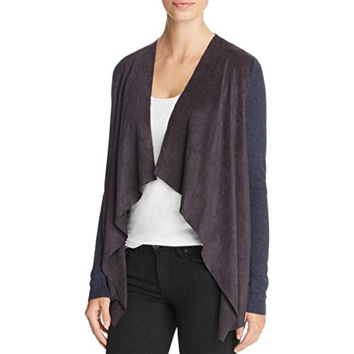 T Tahari Womens Milly Mixed Media Perforated Cardigan Sweater Blue M