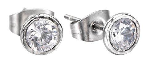 Cubic Zirconia Soliatire Hammered Earrings