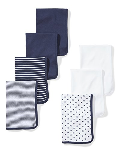 Moon and Back Baby Set of 7 Organic Burp Cloths, Navy Sea, One Size