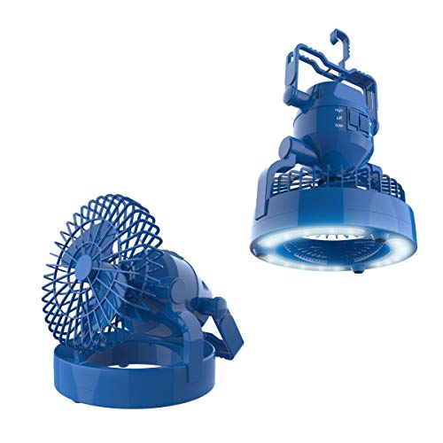 Tent Fan Light - Wakeman 2 in 1 Portable Camping Lantern with Ceiling Fan- Weather Resistant 18 LED Light Outdoors (for Tents, Hiking, Power Outages and More)(Blue)