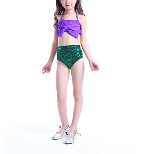 Mermaid maillots de bain pour les filles / 2 pièces bikinis ensemble / catoon bow-knot maillot de bain pour les enfants / violet mignonne romantique enfants plongée piscine plage balnéaire costume