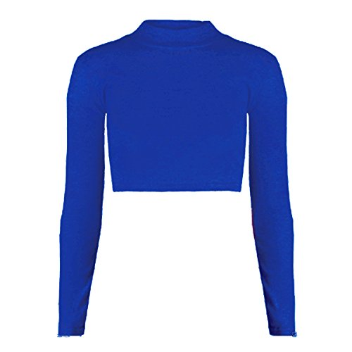 new-kids-girls-plain-turtle-polo-high-neck-long-sleeve-crop-top-shirt-age-7-13-years-11-12-royal