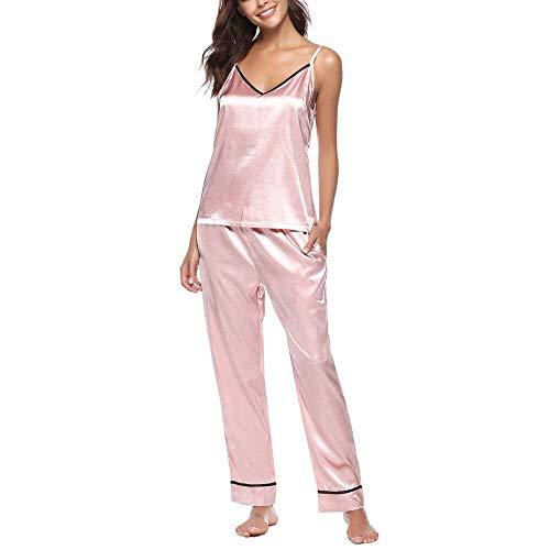 De Seda En Mangas Sin Pijama Spun Pijamas V Chándal Con Mujer Pink Sling Vintage Albornoz Verano Cuello TxYWPWnZ