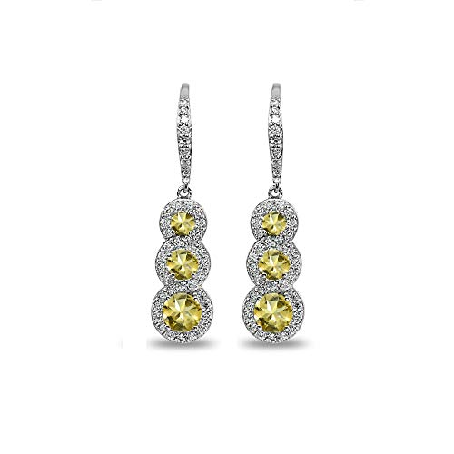 (Sterling Silver Citrine Journey Halo Three-Stone Dangle Leverback Earrings)