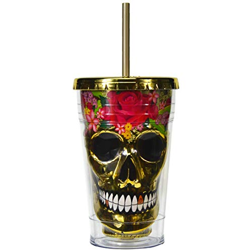 Sugar Skull Cup Tumbler Insulated Travel Mug with Straw Day of the Dead (Gold, 18 oz)