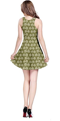 CowCow XS 5XL Sleeveless Bicycles Vintage Dress Olive Womens Pattern Outline rv0rOw