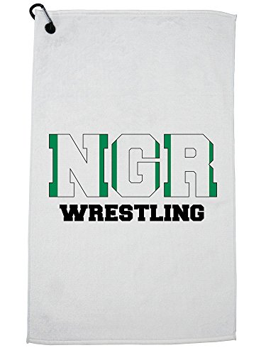 Hollywood Thread Nigeria Wrestling - Olympic Games - Rio - Flag Golf Towel with Carabiner Clip by Hollywood Thread
