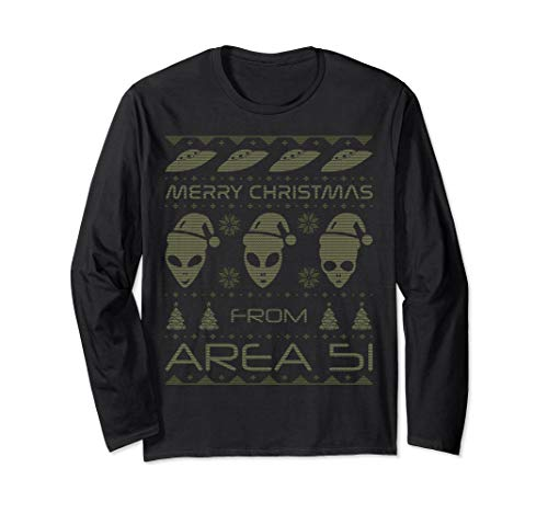 Funny UFO Alien Area 51 Ugly Christmas Long Sleeve T-shirt